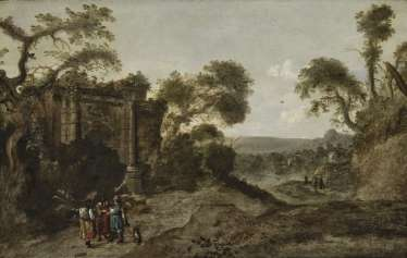 Ruins landscape with figure staffage