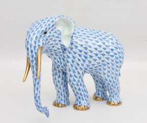 HEREND PORCELAIN ELEPHANT 2, glazed gold staffiertes porcelain, hand-painted, limited, marked, Hungary 20. Century