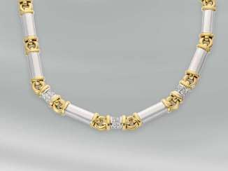 Chain/necklace: exceptional, heavy and solid Bicolor gold wrought chain with brilliant trim, 18K Gold