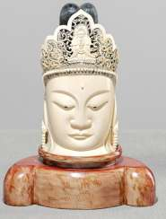 Ivory head of Guanyin with Amitbha in the breakthrough-crafted crown