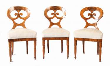 Series of 3 Biedermeier chairs, 2nd quarter of the 19th century