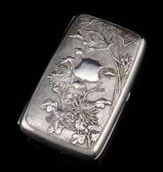 Lidded box made of silver with embossed decoration of chrysanthemum and bamboo