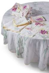 A GROUP OF FLORAL PAINTED OR PRINTED LINEN CIRCULAR TABLECLOTHS