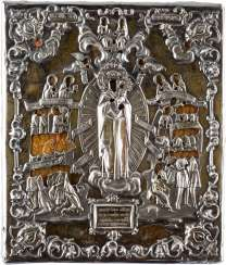 A FINE ICON OF THE MOTHER OF GOD 'JOY OF ALL WHO SORROW ENDS' WITH SILVER OKLAD