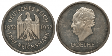 GERMANY 5 MARK 1932 F - JOHANN WOLFGANG GOETHE