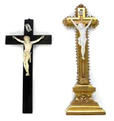 TWO CRUCIFIXES, IVORY/
