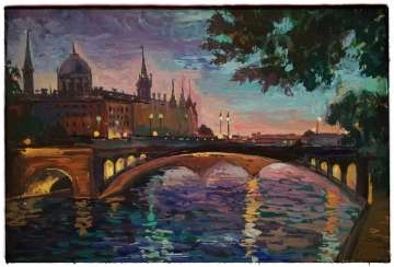 """Sunset over the Seine"""