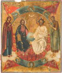 A BIG ICON OF NEW TESTAMENT TRINITY FLANKED BY THE MOTHER OF GOD AND JOHN THE FORERUNNER