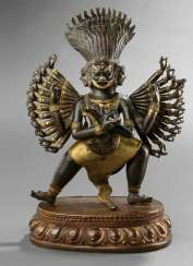Partially fire-gilded repoussé technology-figure of a patron deity