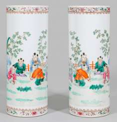 Pair of Famille rose-rod vases from the Republic period