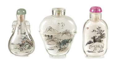 Five Snuffbottles made of glass with inside painting