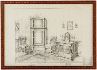 Arts and crafts workshop Otto Fritzsche, framed design drawing, around 1920/30