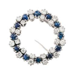 Wreath brooch with sapphires and diamonds