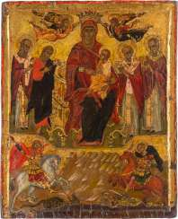 LARGE-FORMAT ICON WITH THE ENTHRONED MOTHER OF GOD AND SELECTED SAINTS