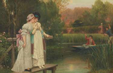 English park landscape with elegant ladies on the landing stage