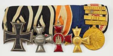 Prussia: medalbar of a high of the schutztruppe for German South West Africa with 5 awards decorated non-commissioned officer.
