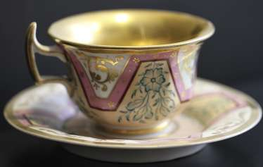 Cup and saucer with ornament, KPM, mid XIX century