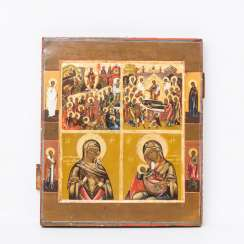 Four box icon with four border saints, Central Russia at the end of 18. Century,