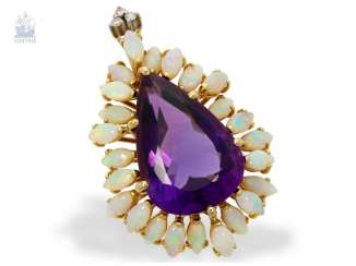 Pendant: a decorative, unusual vintage hand work with an Amethyst in the form of drops, as well as numerous small opals and diamonds, including opinions