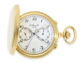 Pocket watch: extremely high quality, very solid, mint condition split-seconds chronograph with registers, anniversary, Edition, Heuer & co. 125ème, Heuer-Leonidas, verm. new-old-stock !