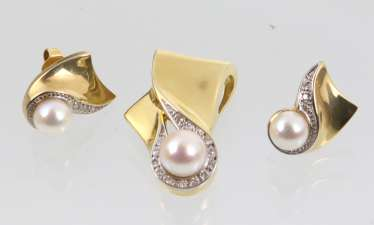 Akoya pearl jewelry with brilliant yellow - gold/WG 585