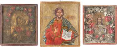THREE LARGE-FORMAT ICONS: CHRIST PANTOCRATOR AND THE MOTHER OF GOD IN THE ICON CASE