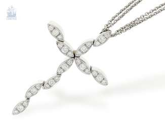 Chain/necklace: modern cross pendant with a rich, brilliant trim at double-breasted white gold chain