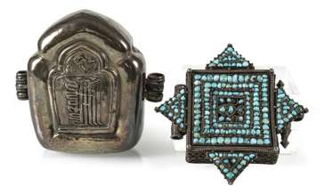Gau made of silver and the lid of an amulet box with turquoise trim