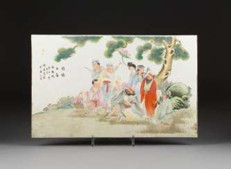 PORCELAIN PLATE WITH THE EIGHT IMMORTALS