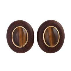 Clip-on earrings made of wood with tiger's eye cabochons