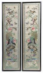 Pair Of Silk Embroideries, China