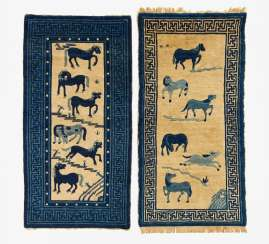 Two carpets with six horses each