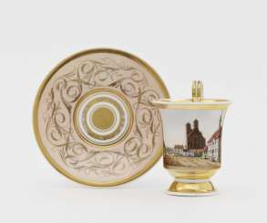 "View cup with saucer ""Cathedral and Town Hall in Prenzlau"""