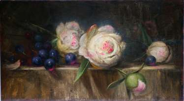 Still life with peonies and grapes