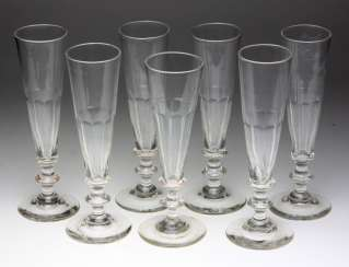 Set of champagne flutes from around 1900