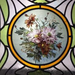 Large leaded glass window / leaded glass window / hand-painted window image art Nouveau circa 1920, rare, very nice.