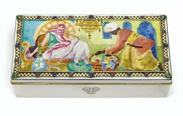 AN AMERICAN SILVER, ENAMEL, AND GOLD 'ODALISQUE' TABLE BOX