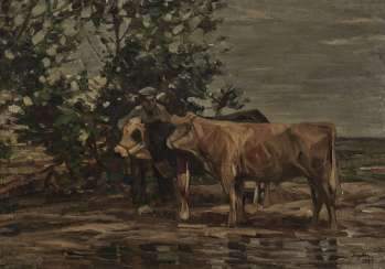 Farmer with two cows