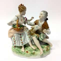 Figure group porcelain: Baroque style / love couple with lamb, Baroque clothing, equipped fine, Weiss, Bach, very good.
