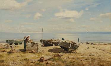 DÜCKER, EUGÈNE (EUGEN), GUSTAV. Fisherman's wife on the beach
