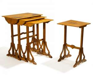 Rare sequence of four set of tables with cat motifs