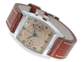 Watch: extremely rare, early Chronograph watch with Tonneau-shaped case, CA. 1930