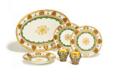 SIX PARTS FROM THE SERVICE OF Grand Duke KONSTANTIN Nikolayevich. Imperial Porcelain Manufactory. St. Petersburg. Period Of Nicholas I (1848-1855). Draft F. G. Solnzew, 1848.