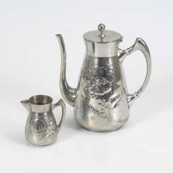 Art Nouveau coffee pot with cream jug Kayser TIN design Hugo Leven