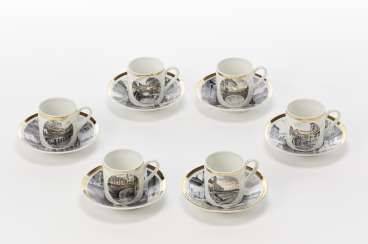 Coffee set of six cups and saucers of the series