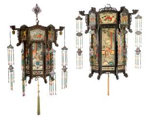 TWO LANTERNS, WOOD, PAINTED