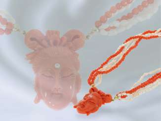Chain/necklace: rare, multi strand vintage beads/coral necklace with fine coral cameo, probably from the Art Deco period