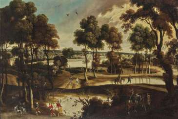 Flemish 17. Century. Wide river landscape with figure staffage