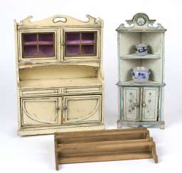 2 Art Nouveau doll cabinets, including around 1900