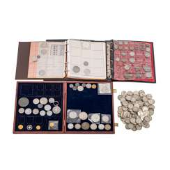 Colorful collection of coins and medals, with GOLD and SILVER